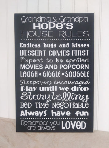 grandparents rules sign measures 12x18
