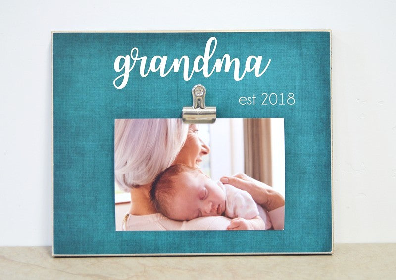 photo frame gift for grandma, personalized picture frame, grandma est, nana est, mimi est, mothers day gift for grandma, pregnancy announcement for grandma