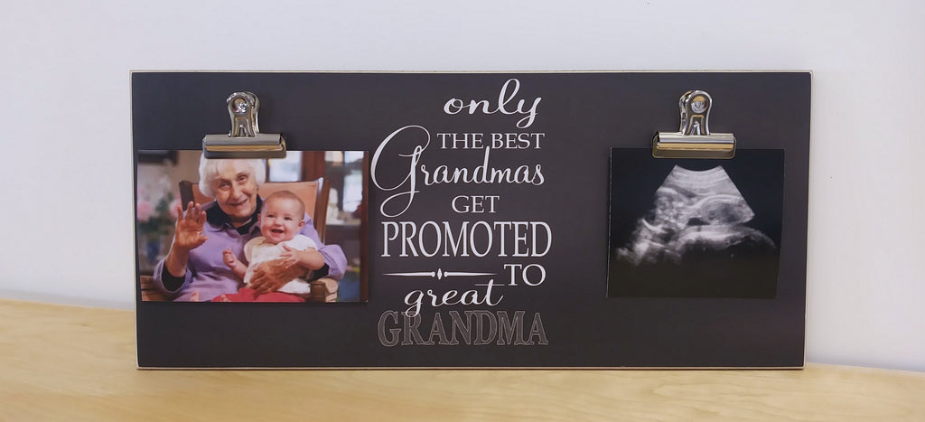 chalkboard picture frame with 2 clips, only the best grandmas get promoted to great grandma, custom photo frame
