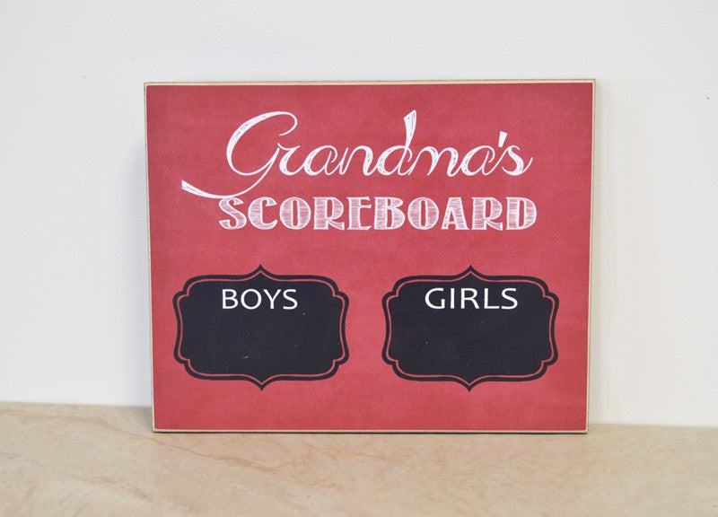 grandmas scoreboard chalkboard boys vs girls gift for grandma