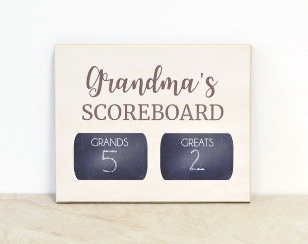 custom chalkboard - grandma's scoreboard keeps track of boys vs girls or grands vs greats, cute mothers day gift idea for grandma, personalized with your names