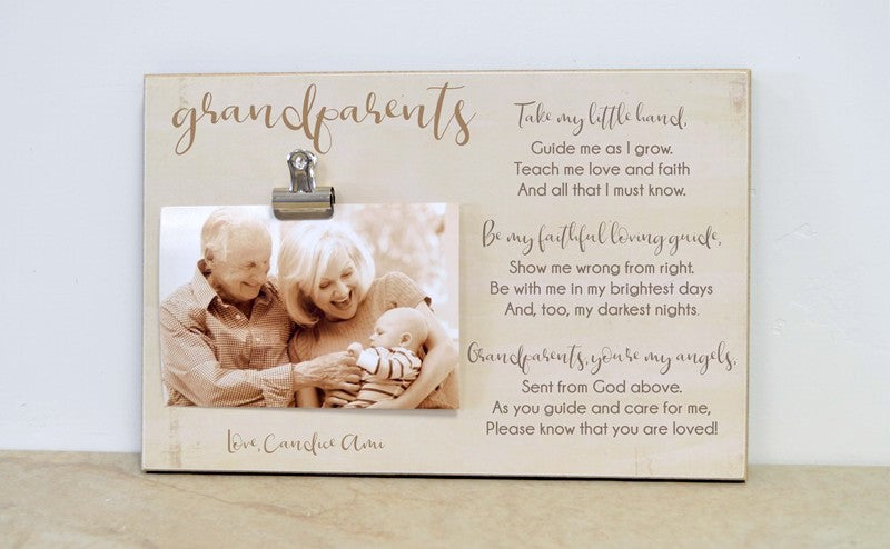 grandparents day gift for grandparents, custom picture frame grandparent gift with poem