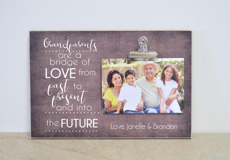 grandparents are a bridge of love, generations photo frame