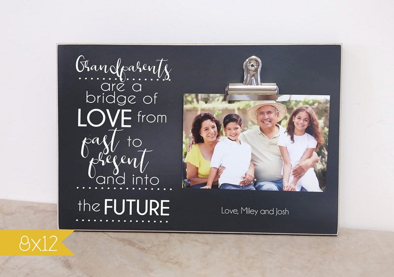 chalkboard photo frame for grandparents, grandparent gift, bridge of love from past to present and into the fugure