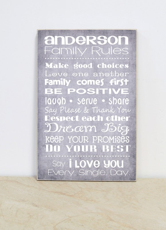 custom family rules sign, christmas gift for family