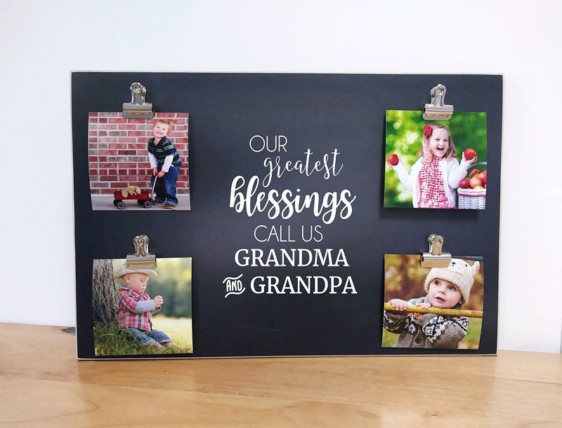 personalized photo display board with 4 photo clips, custom photo frame for grandparents day