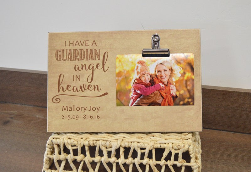 guardian angel in heaven photo frame, funeral decoration or sympathy gift