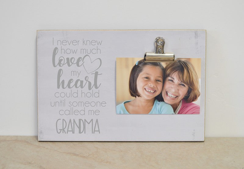 grandma photo frame grandma gift, i never knew how much love my heart could hold until someone called me grandma