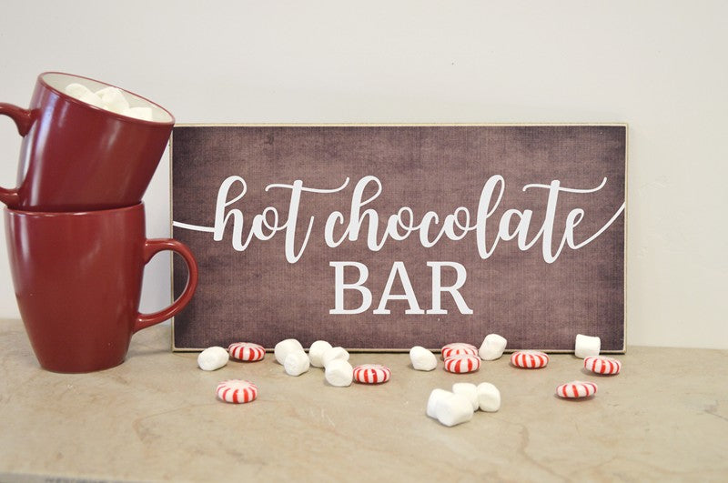 hot chocolate bar wooden sign for hot chocolate bar, christmas wooden sign