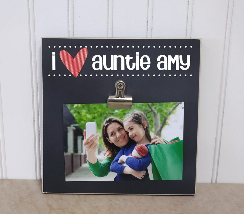 i heart auntie photo frame, auntie gift for aunt