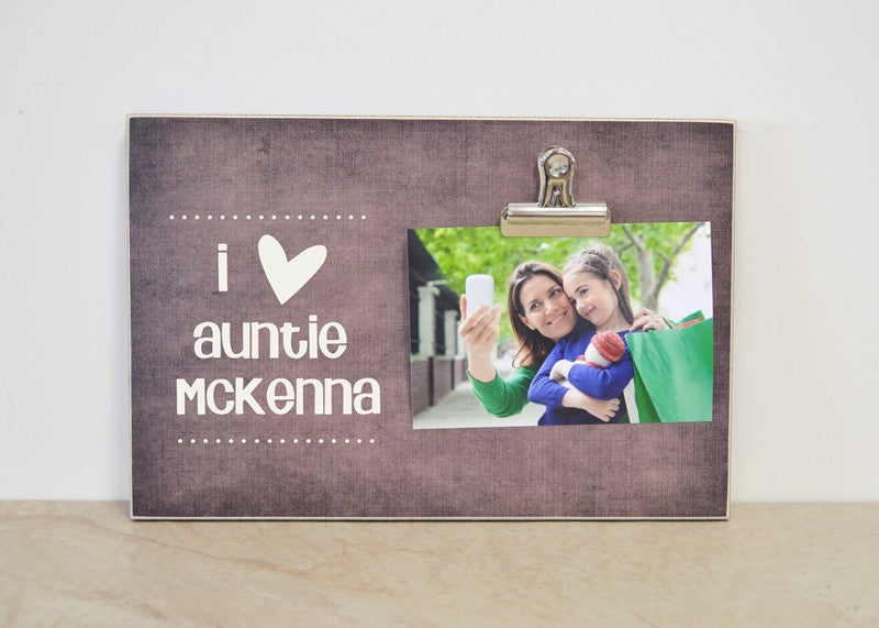 i heart aunt, personalized photo clip frame auntie gift aunt gift for aunt
