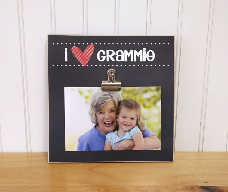 personalized grandma gift, i heart grammie i love grandma photo frame