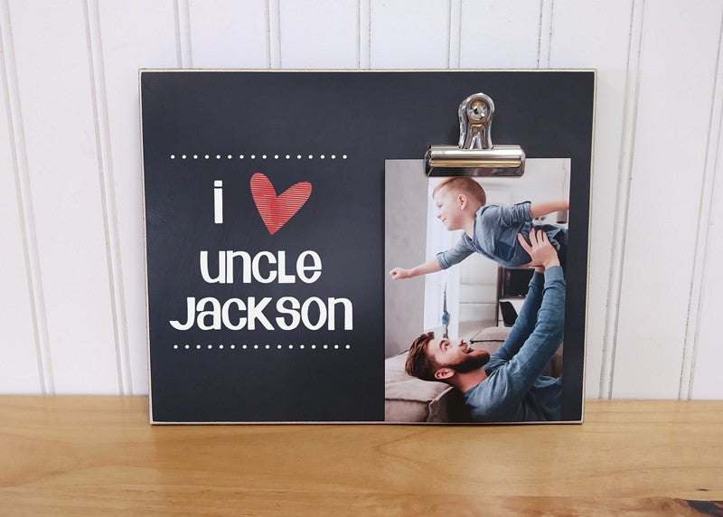 i love my uncle, personalized photo clip frame for uncle, birthday gift for uncle