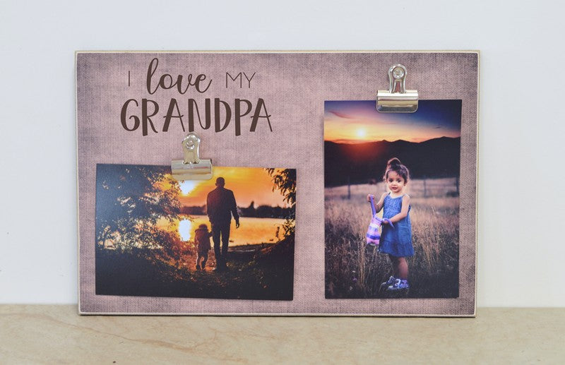 fathers day gift for grandpa photo frame, i love my grandpa, personalized frame