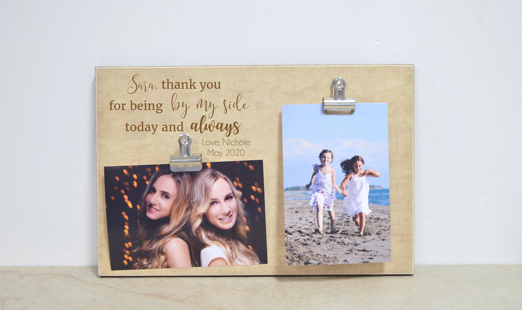 Bridesmaid Gift Idea, Thank You For Being By My Side, Personalized Wedding Gift From The Bride