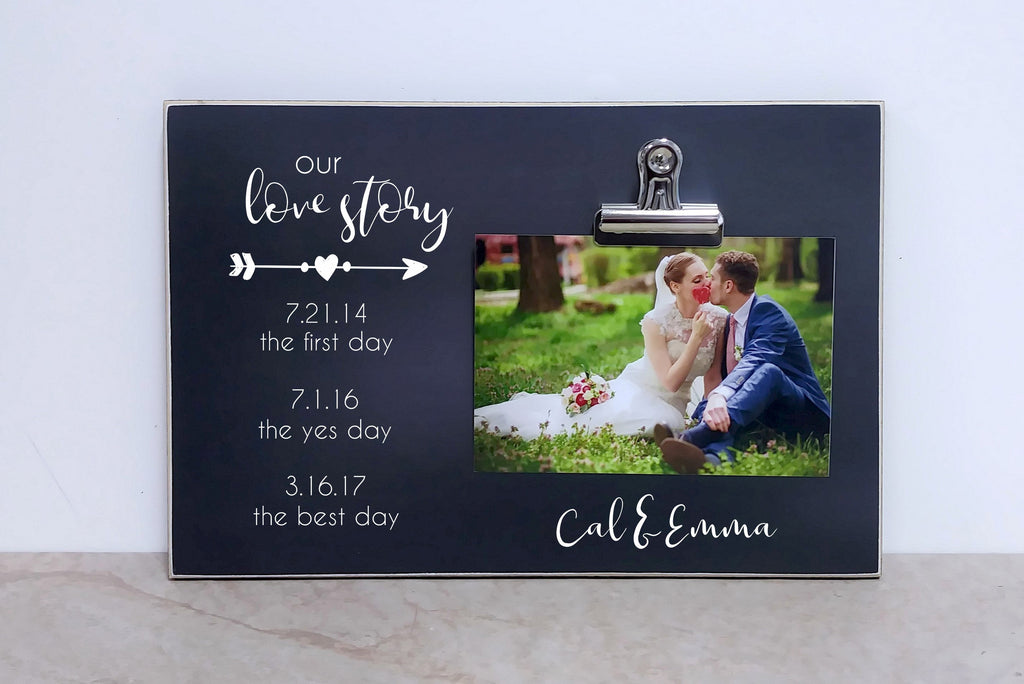 Personalized OUR LOVE STORY Photo Frame; Valentines Gift For Her, Wedding Gift For Couple, Engagement Gift, Wedding Anniversary Gift For Him