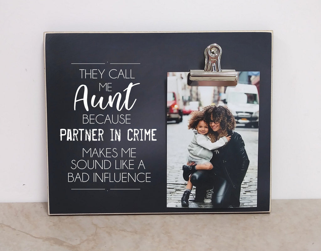 Christmas Gift For Aunt, Aunt Gift Frame {Aunt Partner in Crime} Birthday Gift For Aunt, Auntie Gift, Aunt Picture Frame, Aunt Gift