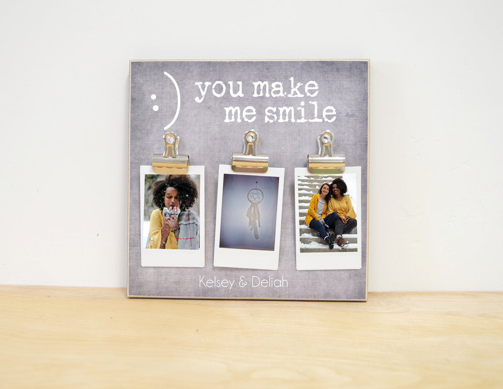 Friends Personalized Photo Frame {You Make Me Smile}Custom Picture Frame, Personalized Gift For Best Friend, Christmas Gift, Going Away Gift