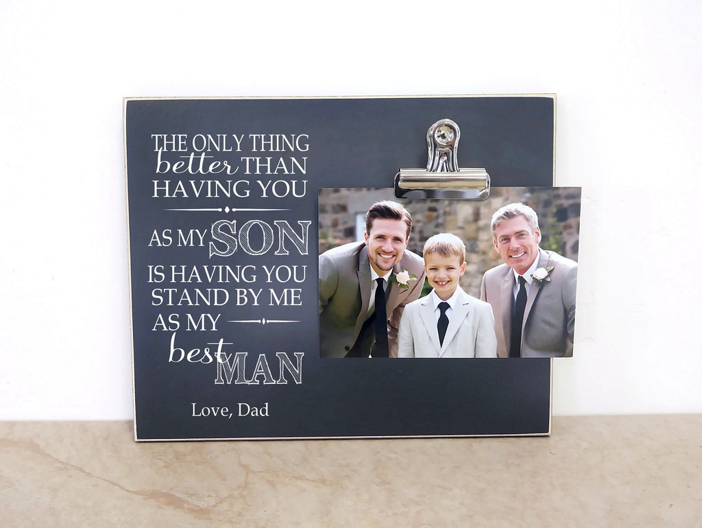 Father Son Best Man Gift Idea, Groomsmen Gift Idea, Photo Frame Gift For Best Man, Personalized Picture Frame, Wedding Gift from Groom