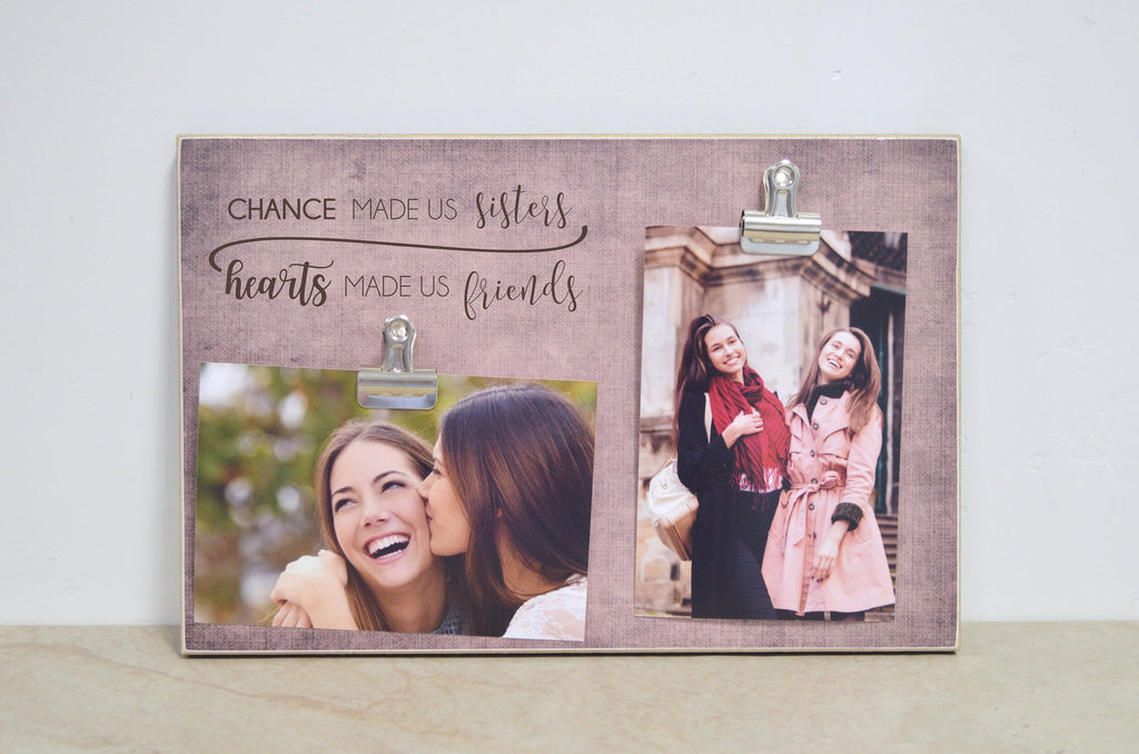 Christmas Gift For Sister, Personalized Picture Frame Sisters Gift, {Chance Made Us Sisters, Hearts Made Us Friends} Girls Bedroom Decor