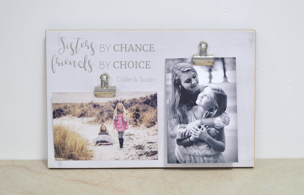 Christmas Gift For Sister, Personalized Picture Frame Sisters Gift, Custom Photo Frame {Sisters By Chance}Girls Bedroom Decor,  Sister Frame