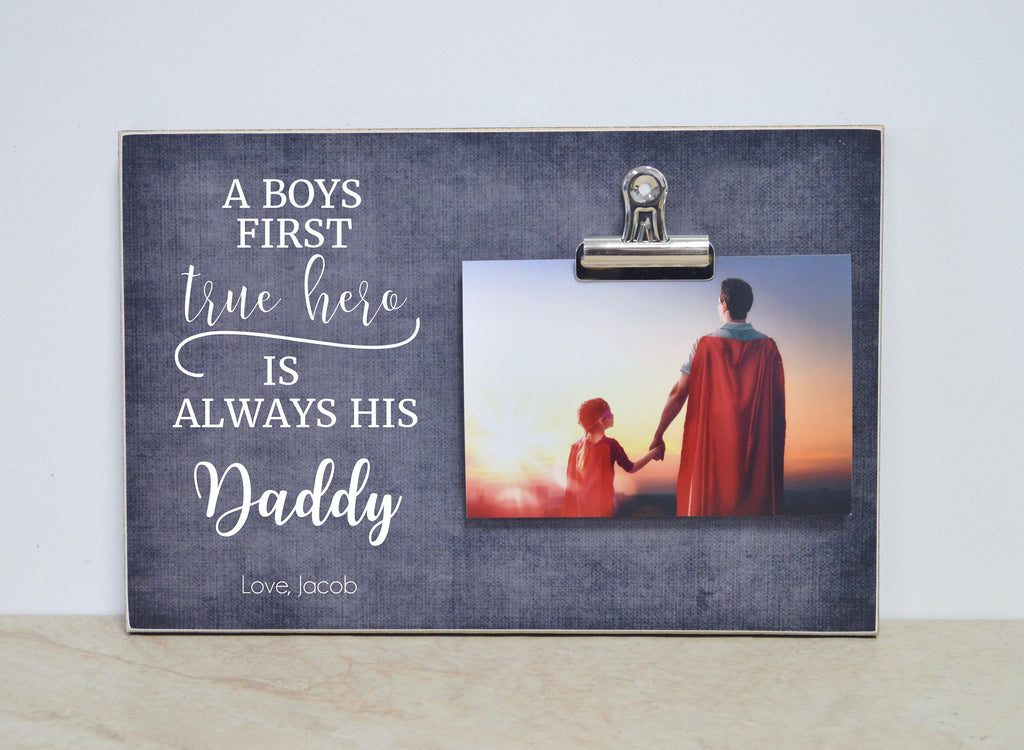 Father And Son, Father & Daughter Picture Frame  {A Boy's First Super Hero is Always His Daddy} Custom Photo Frame, Christmas Gift for Dad