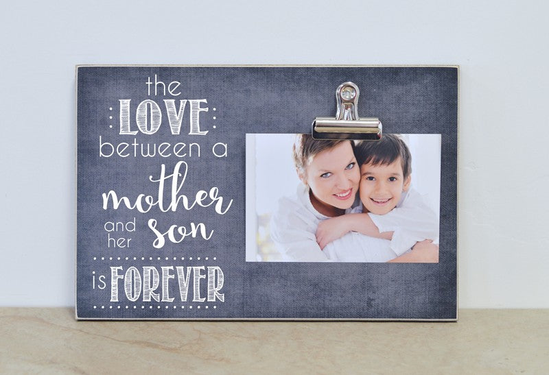 the love between a mother and her son is forever, custom photo frame mothers day gift