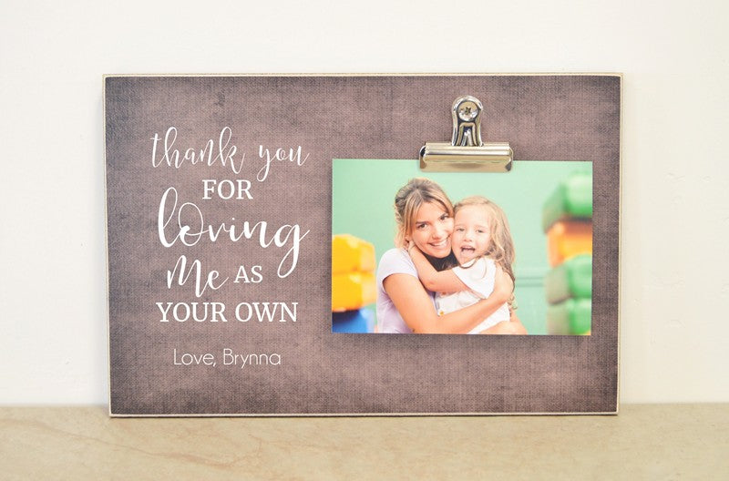 stepmother photo frame gift for mom mothers day gift idea thank you for loving me as your own photo clip frame