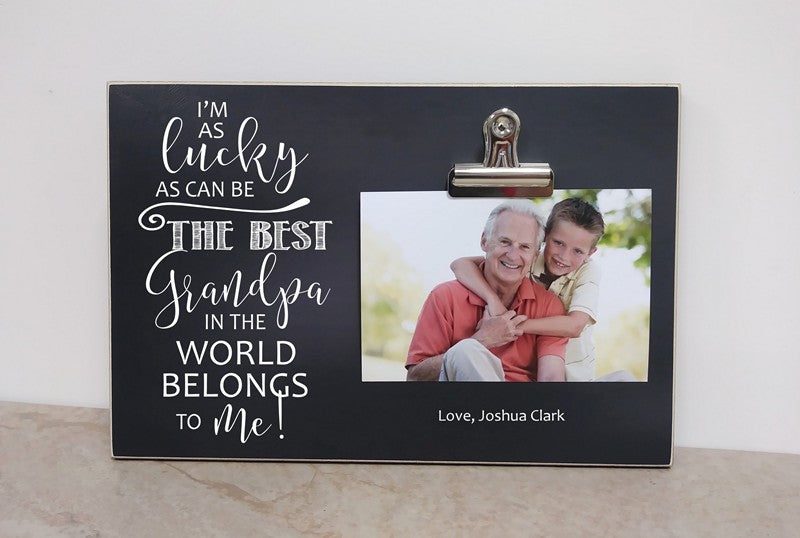 i'm as lucky as can be the best grandpa in the world belongs to me, best papa, best papi, photo frame, picture frame, custom gift, custom frame, personalized gift, personalized frame, fathers day gift idea, grandparents day gift, gift for grandpa, grandpa gift