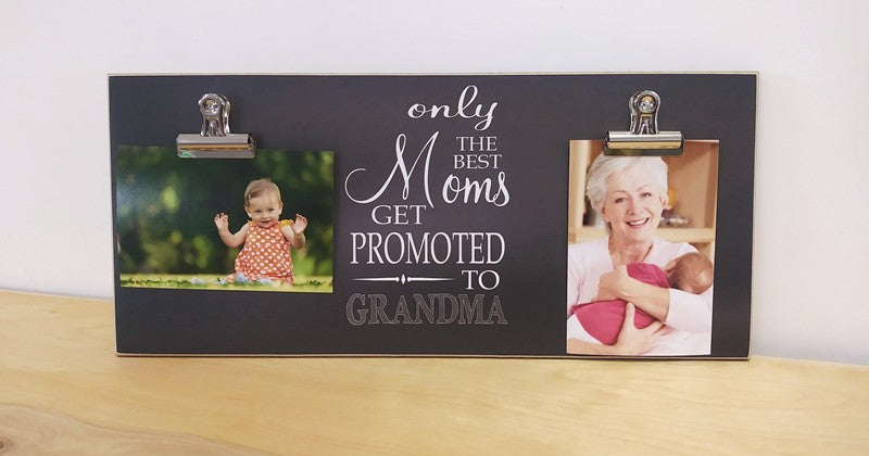 chalkboard picture frame, custom photo frame for grandma, pregnancy reveal mothers day gift, only the best moms get promoted to grandma picture frame with 2 clips
