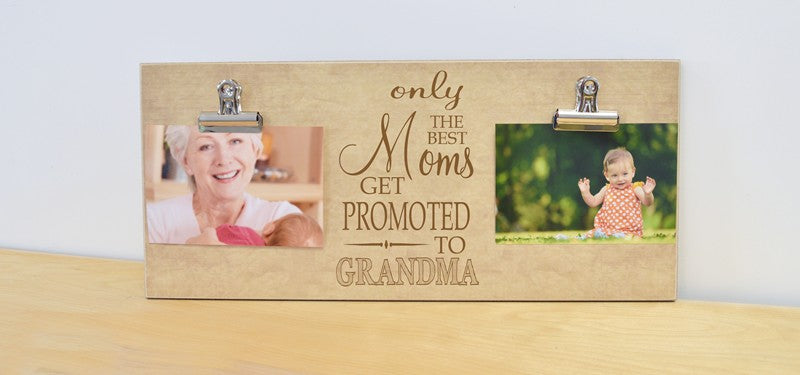only the best moms get promoted to grandma, custom photo frame mothers day gift for mom, gift for new grandma, pregnancy reveal to grandma