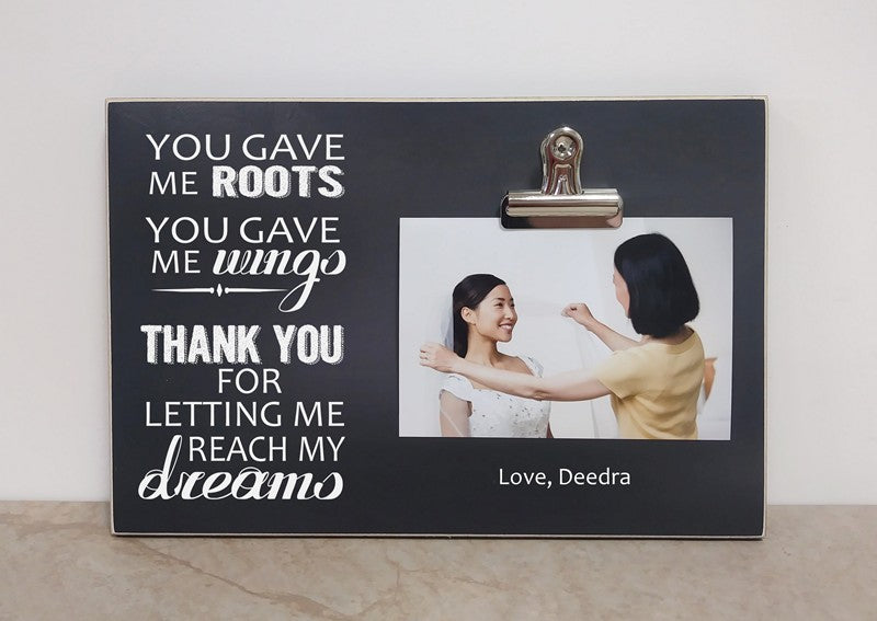 wedding thank you gift to parents - you gave me roots you gave me wings, photo frame