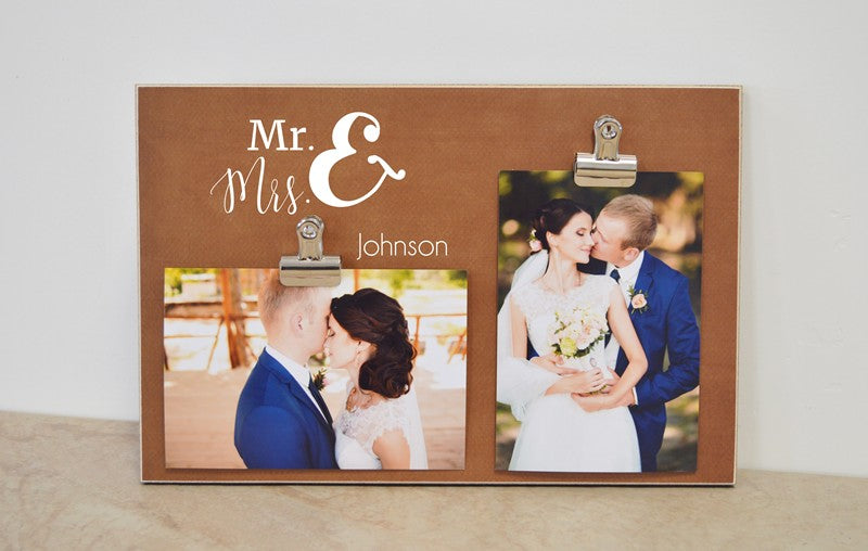 custom picture frame for bride and groom, mr and mrs photo frame