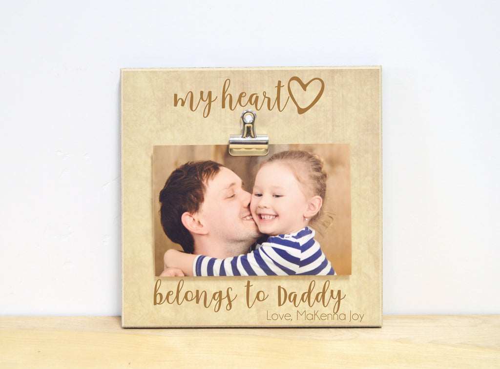 my heart belongs to daddy personalized photo frame father's day gift for dad, daddy gift, personalized frame
