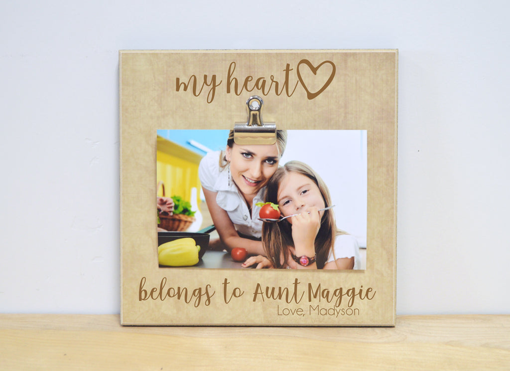 my heart belongs to aunt - personalized photo frame for aunt, auntie gift aunt photo frame gift