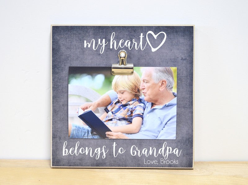 my heart belongs to grandpa photo frame gift for fathers day gift for grandpa personalized photo frame