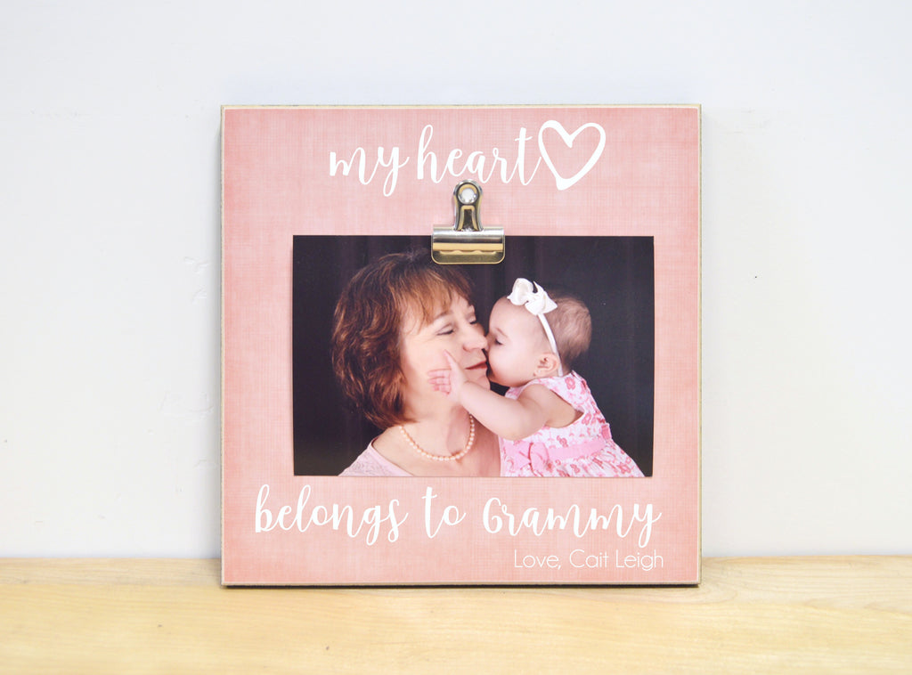 my heart belongs to grandma photo clip frame mothers day gift for mimi, nana, gigi, personalized mothers day gift idea