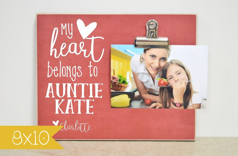 auntie photo frame, auntie gift, my heart belongs to, personalized picture frame