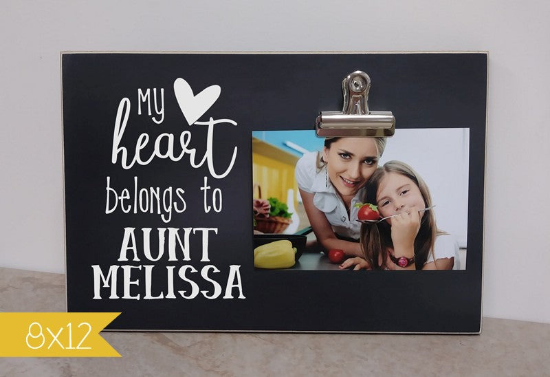 personalized picture frame gift for aunt, gift for auntie, my heart belongs to aunt photo frame
