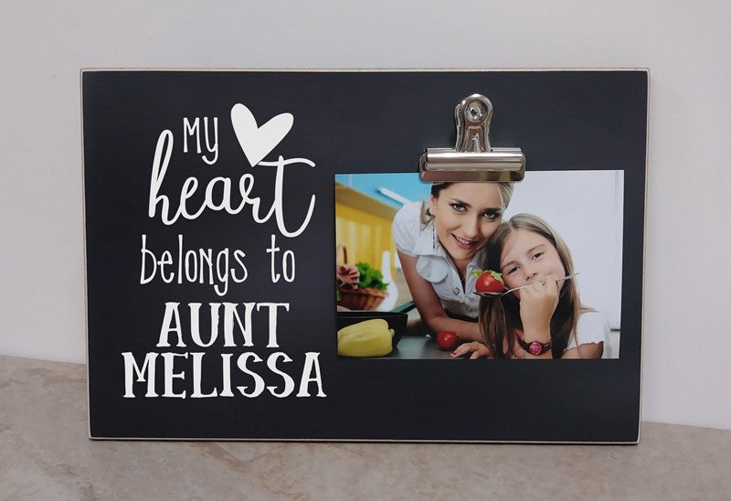 my heart belongs to aunt - personalized photo frame for aunt, aunt photo frame gift
