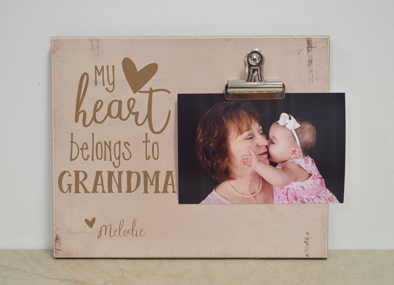 grandma photo frame gift for grandma my heart belongs to grandma, mothers day gift idea