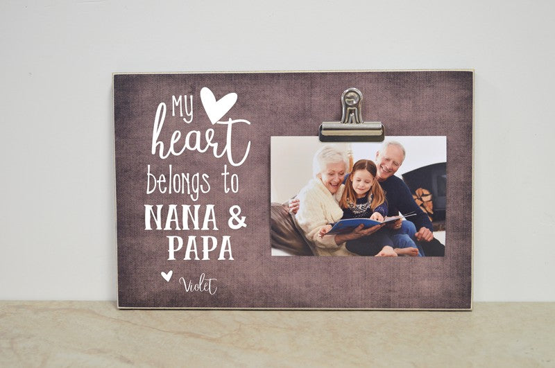 Personalized Photo Frame - My Heart Belongs to Grandma and Grandpa