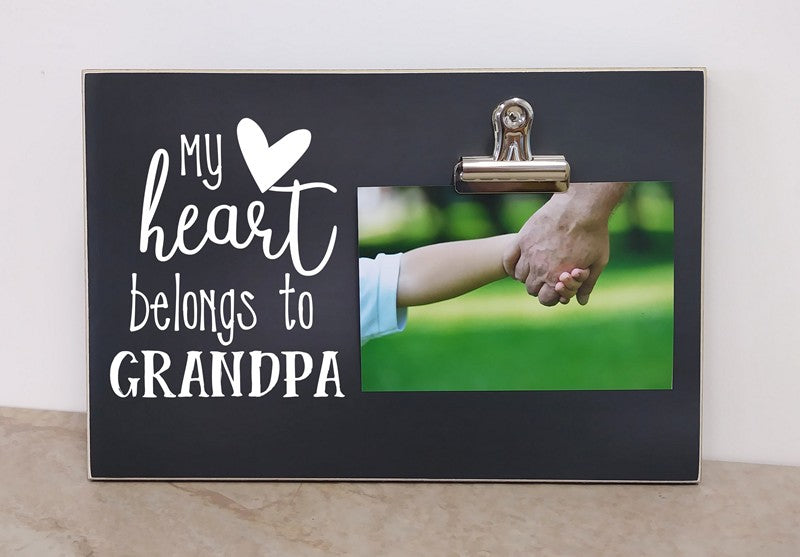 personalized grandpa gift for grandpa fathers day gift, custom photo frame  - personalized gift - my heart belongs to grandpa