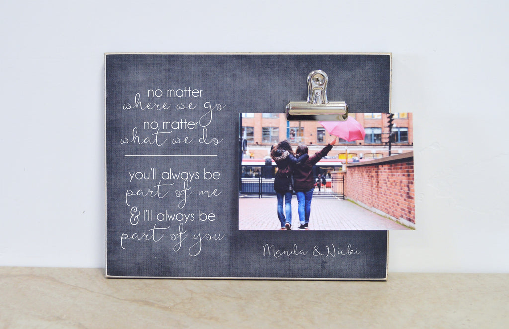 friendship photo frame gift for best friend going away gift, no matter where you go