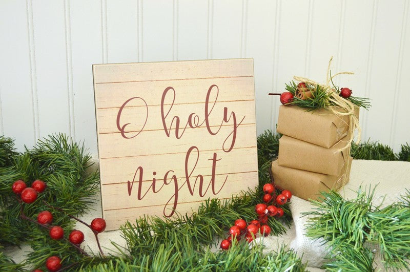 o holy night christmas sign, wooden christmas decor