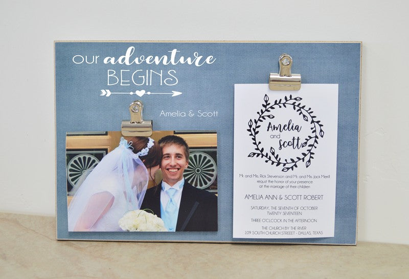 our adventure begins photo frame for wedding display, bride and groom photo frame, wedding photo frame