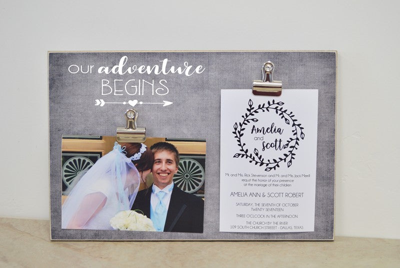 wedding photo display - our adventure begins personalized photo frame