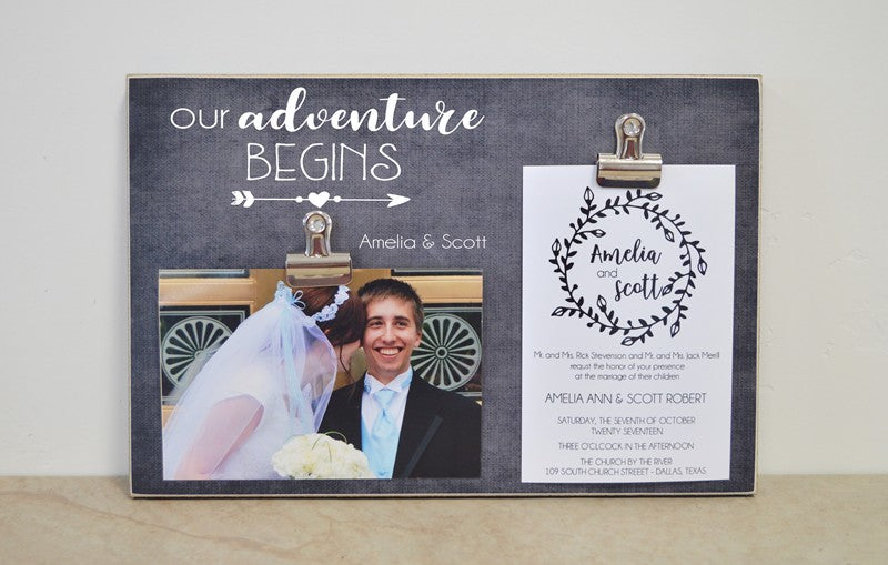 wedding photo frame gift for bride and groom, bridal shower gift wedding gift, our adventure begins photo frame