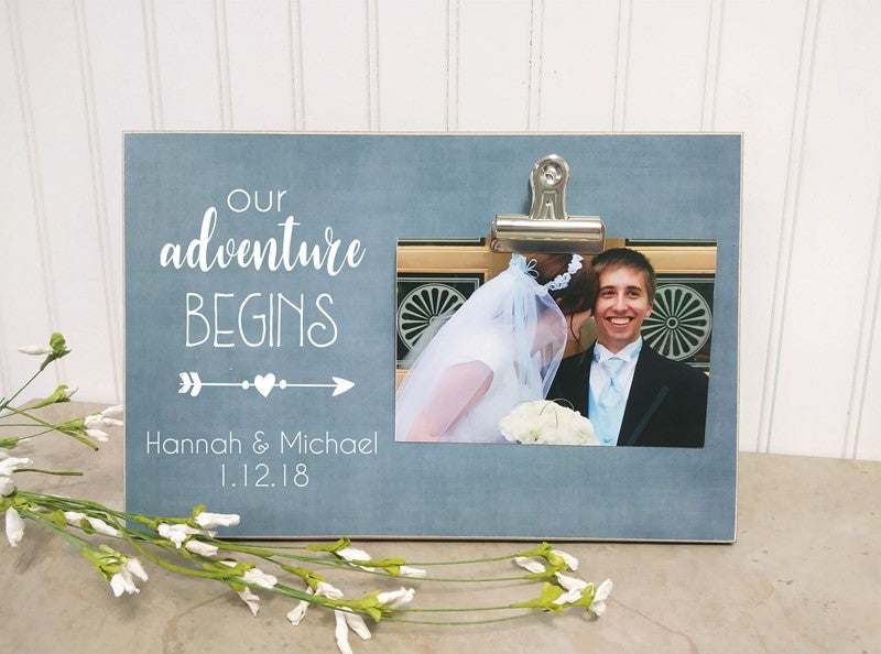 personalized photo frame our adventure begins wedding gift