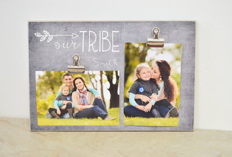 gray picture frame - our tribe, personalized with family name or other name, photo frame gift for mom, gift for her